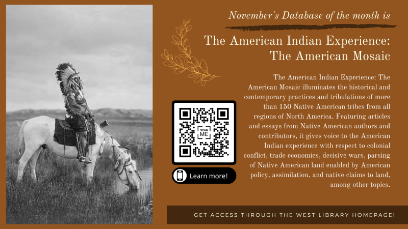 November Database of the Month - American Indian Experience